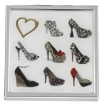 Compact Mirror 'A Girl Can Never Have Too Many Shoes' Animal Print 2x Magnification Square Pocket Mirror by FMG