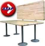 ADA Locker Room Bench with Back Support - Hardwood Top and Powder Coated GREY Steel Pedestals - 42