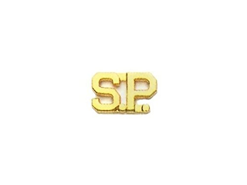 SPECIAL S.P. SP SECURITY GUARD COLLAR BRASS PINS GOLD