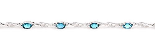 QP joailliers naturel & Diamant Topaze bleue Bracelet en or blanc 9carats, 3,38CT Coupe ovale-4278W