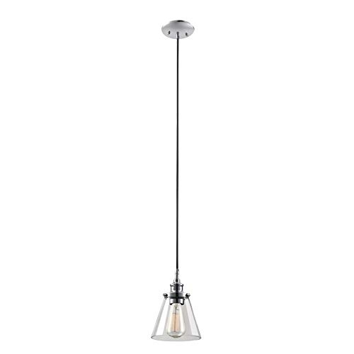 Globe Electric 65381 Mercer 1-Light Pendant, Polished Chrome Finish, Clear Glass Shade with Black Fabric Cord