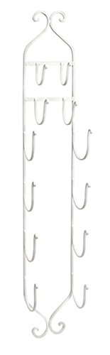 Towel - Wine Rack in White - Compact, Wall Mounted Clever Cast Iron Display Rack for Organizing Towels, Wine Bottles or Hanging Hats. Classic Furniture Accessories - Imax 97480