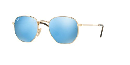 Ray-Ban RB3548N HEXAGONAL 001/9O 51M Gold/Light Blue Flash Sunglasses For Men For Women