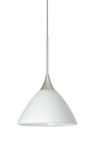 Besa Lighting 1XT-174307-LED-SN 1X6W Led Lightsource Domi Pendant with White Glass, Satin Nickel Finish