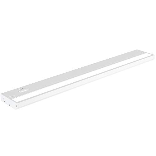 LED Under Cabinet Lighting by NSL - Dimmable Hardwired or Plugged-in installation - 3 Color Temperature Slide Switch - Warm White (2700K), Soft White (3000K), Cool White (4000K) - 24 Inch White Finish