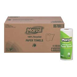 Marcal Paper Towels 100% Recycled 2-Ply, 60 Sheets Per Roll - Case of 15 Individually Wrapped Green Seal Certified ()