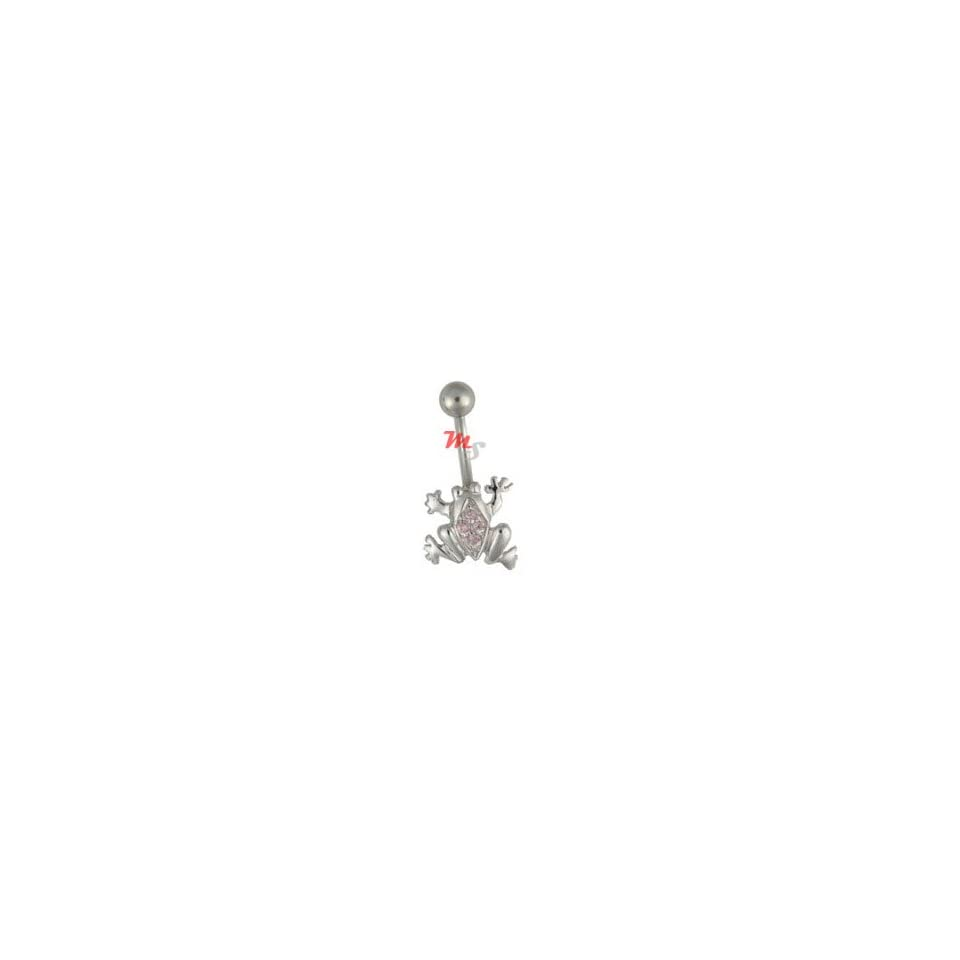 Multi Gem Frog Navel Belly Ring Jeweled PINK CZ new