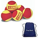 Quick Start Stage 3 Foam Tennis Balls (6-Pack Quick Start 36) Bundled with Covey Sports Bag