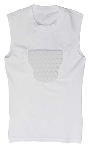 Baseball Protect Youth Baseball Chest Guard T-Shirt: PROBAY Padded Compression Shirt with Heart Guard/Sternum Protector for Impact Protection - Protective Shirts for Baseball, Softball and More ()