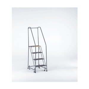 Rolling Ladder Steel - Ballymore H426X Steel Standard Rolling Ladder with Spring Loaded Casters and Handrails, Expanded Metal Tread, Unassembled, OSHA/ANSI Standard, 4 Steps, 24