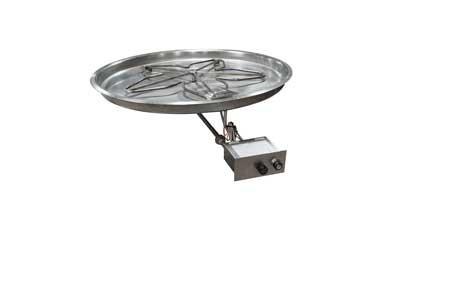 HPC Manual Spark Flame Sensing Fire Pit Kit, 30 Inch Penta Burner, 37 Inch Bowl Pan, Propane