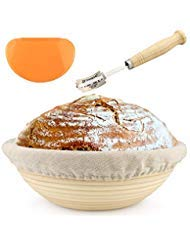 10 inch Banneton - Bread Proofing Basket - with Cloth Liner, Wooden Bread Lame, and Dough Scraper - Perfect for Baking, Proofing, and Rising Sourdough Bread - Boost Baking by Boost Baking