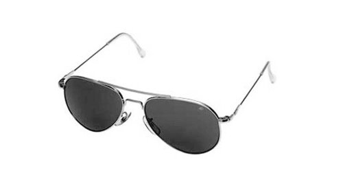 AO Flight Gear General Sunglasses, Wire Spatula, Silver Frame, True Color Gray Glass Lens, 52mm, by AO Eyewear