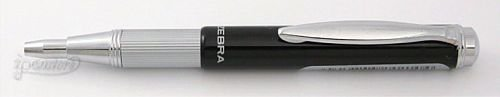 Zebra Telescopic Ballpoint Pen - Black & Silver Barrel - Black Ink