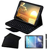 Galaxy Tab S2 9.7 Keyboard Case with Screen Protector & Stylus, REAL-EAGLE Separable Fit PU Leather Case Cover Magnetically Wireless Keyboard for Tab S2 9.7 Inch SM-T810 T813 T815 T819, Black (Best Galaxy Tab S2 Accessories)