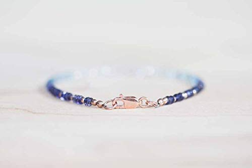 Iolite, Aquamarine and Rainbow Moonstone Bracelet, Rose Gold FilledFilled Fill or Sterling Silver, Delicate Beaded Gemstone Ombre Stacking Bracelet 3mm 7 inches by Gemswholesale ()