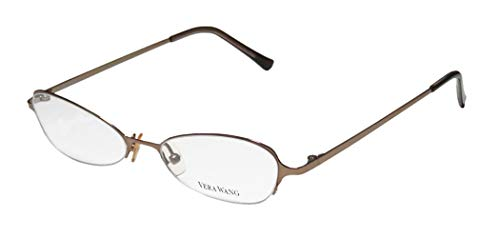 Vera Wang V100 Womens/Ladies Rx Ready Sleek Designer Half-rim Eyeglasses/Eye Glasses (49-17-135, Shiny Brown)