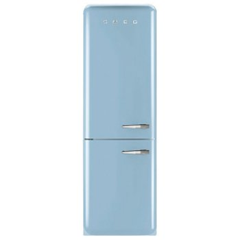 "Smeg FAB32UPBLN 24"" 50's Retro Style Bottom Freezer Refrigerator with 10.74 cu. ft. Capacity No Frost Fast-Freezing Adjustable Glass Shelves and LED Interior Lighting: Pastel Blue with Left"