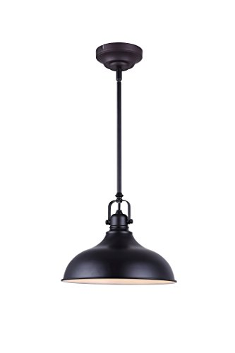 CANARM LPL103A01BK Sussex Integrated LED 1 Light Pendant with Metal Shade, Black