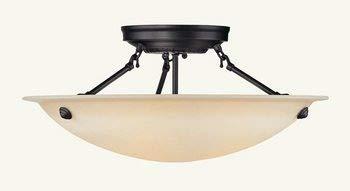 Livex Lighting 5626-07 Home Basics 3 Light Bronze Semi Flush Mount with Honey Alabaster Glass