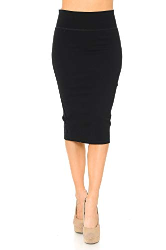 Auliné Collection Womens Solid Fitted High Waist Stretch Midi Ponte Pencil Skirt Black M