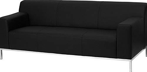 Campton Definity Series Black Leathersoft Sofa w/Stainless Steel Frame -Reception Lounge | Model LNGCHR - 349