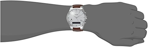 GUESS-Mens-CONNECT-Smartwatch-with-Amazon-Alexa-and-Genuine-Leather-Strap-Buckle-iOS-and-Android-Compatible-Silver