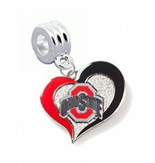 Ohio State Buckeyes Swirl Heart Charm with Connector - Universal Slide On Charm -