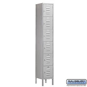 Salsbury Industries Assembled 6-Tier Box Style Standard Metal Locker with One Wide Storage Unit, 6-Feet High by 18-Inch Deep, Gray,
