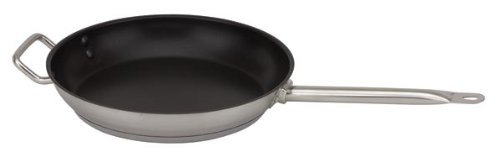Royal Industries Nonstick Fry Pan 14'', Induction Pan Nonstick Frying Skillet Wok Stir Fry Pan Stainless Steel Egg Pan, Riveted-on Handle w Helper Handle, Dishwasher Safe Commercial Grade-NSF Certified