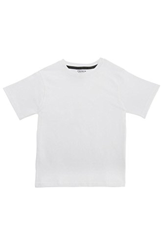 French Toast Little Boys' Basic Short Sleeve Crew Neck Tee, School White, 7 - Dyed Cotton Short Sleeve Tee