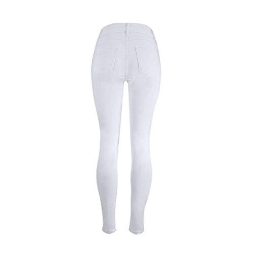 Alta Slim Tinta A Lunghi Denim Anni Stretch Donna Jeans Unita Skinny Moda Pantaloni 20 Vita Bianca qSXwx1UF