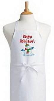 Blazers Proforms Costumes - Happy Holidays Seasonal Cooking Apron White Bib Holiday Aprons For The Kitchen