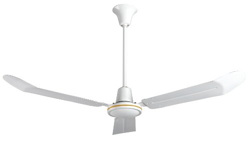 VES 56″ Commercial Ceiling Fan and Control, Downdraft, Cord & Plug, 18″ Downrod, 120v, White Review