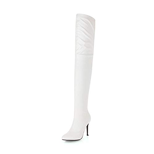 Fur 48 2018 High Heels Fiesta Marca Plus Sobre Zapatos 33 Mujer Botas Thin Rodilla Otoño La Invierno Without Size Hoesczs De White n1wIdqI