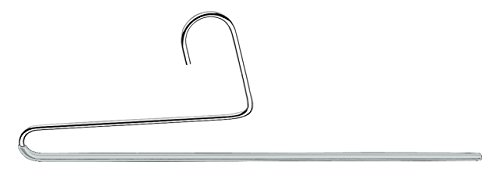 Mawa by Reston Lloyd Reverse Hook Trouser Series Non-Slip Space-Saving Clothes Hanger with Single Rod for Pants, Style KH/35U, 1-Each, Silver