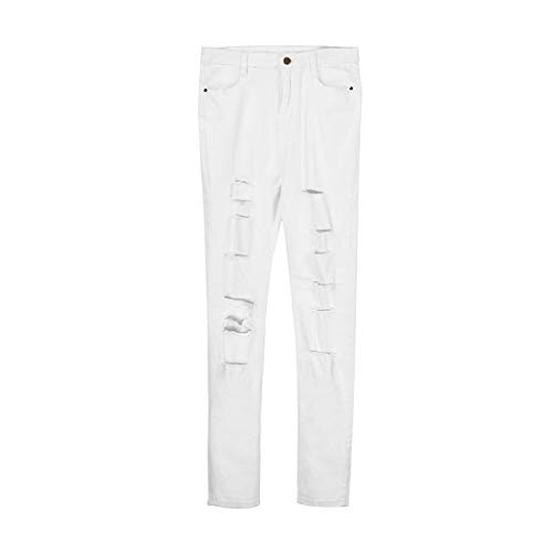 GWshop New Ladies Skinny Ripped Jeans White Hole Denim Stretch Slim Pants Jeans for Womens Breeches White L
