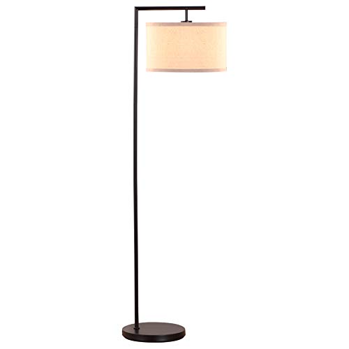 Asian Lamp Floor (Brightech Montage Modern LED Floor Lamp - Living Room Light - Standing Pole with Hanging Drum Shade - Tall Downlight for Bedrooms, Family Rooms, Offices – Black)