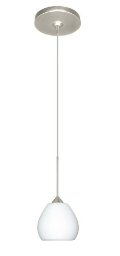 Besa Lighting 1XP-560507-SN Tay Tay Collection 1-Light Mini-Pendant, Satin Nickel Finish with Opal Matte Art Glass Shade
