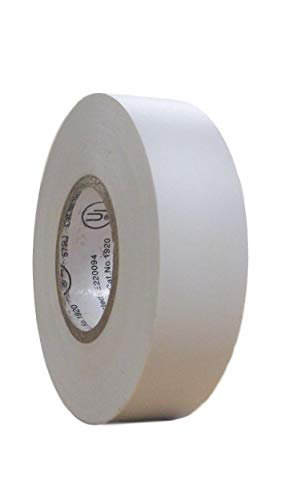 TradeGear SINGLE ROLL WHITE MATTE Electrical Tape, Colored Durable Adhesive, Waterproof PVC, Rubber Resin, UL Listed, 60' x ¾