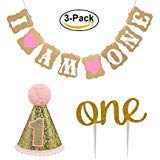 "Baby First Birthday Cake Topper Decoration & 1st Baby Girl Birthday Party Hat & Decorations Banner of ""I Am One""- For Baby Girl -"