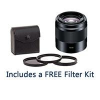 Sony 50mm F/1.8 OSS E-Mount NEX Camera Lens, Black – Bundle with 49mm Filter Kit (UV/CPL/ND2)