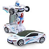 Car to Robot Mode Deform 2 in 1 Models - 1 Button Transformation, Realistic Engine Sounds, 3D Multicolor Lights, 360 Degree Spinning - Ideal Kids Boys Girls Holiday Birthday Gift