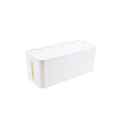 Multifunction Wire Protection Storage Box Anti-dust Plastic Case Household Supplies for Organizing Charger Cables Socket (White, Medium Size)