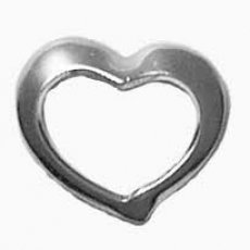Sterling Silver Open Heart Charm with Split Ring ()