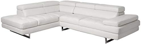 J and M Furniture A761 Italian Leather Sectional White