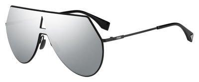 Fendi Women's Shield Aviator Sunglasses, Matte Black/Silver, One Size