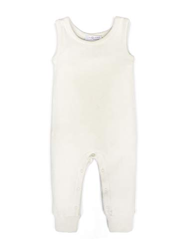 Colored Organics Unisex Baby Organic Cotton Tank Romper - Sleeveless Infant Coverall - Natural Ivory - 3-6M