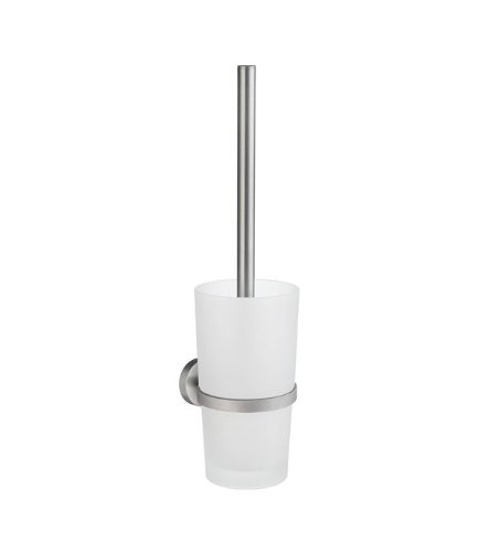 Smedbo Home Toilet Brush with Matte Glass HS333 Brushed Chrome.Include Glue.Fixing Without Drilling