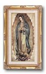 OUR LADY OF GUADALUPE Framed Italian Lithograph Genuine Gold Leaf Wood Frame Under Glass 11